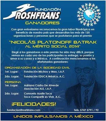 Premio Nicolas Olatonoff Batrak al Mérito Social 2014